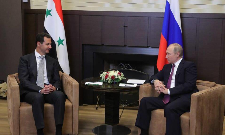 صورة بوتين يستقبل الأسد في سوتشي