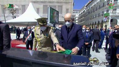 صورة رئيس الجمهورية يدشن نصب تذكاري تمجيدا و تخليدا لتضحيات الجزائريين المنفيين إلى أقاصي الأرض إبان الاحتلال الفرنسي للجزائر ( 1830_1962)