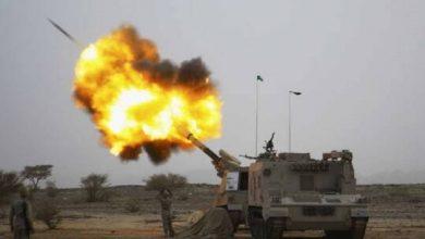 صورة تدمير صاروخ باليستي أطلقه الحوثيون باتجاه نجران السعودية