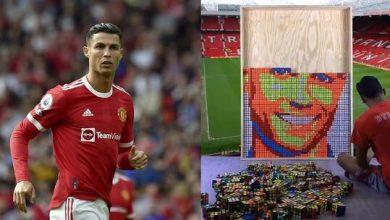 """صورة لوحة فنية رائعة لرونالدو بمهارة عالية بمكعبات """"روبيك"""" في ملعب """"أولد ترافورد"""""""